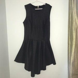 Black leather snake skin party dress